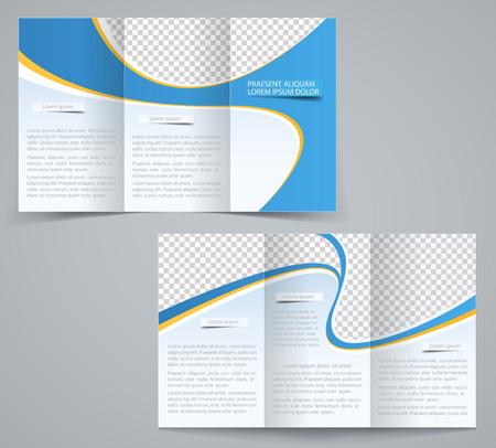 Trois fois modèle de brochure d'affaires, dépliant d'entreprise ou de la conception de la couverture dans les couleurs bleu