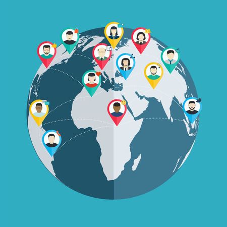 business relationship: Concept of social networking, wireless connect people around the world, flat design web and mobile applications
