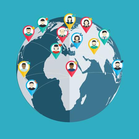 connect people: Concetto di social networking, le persone si connettono senza fili in tutto il mondo, piatta web design e delle applicazioni mobili Vettoriali