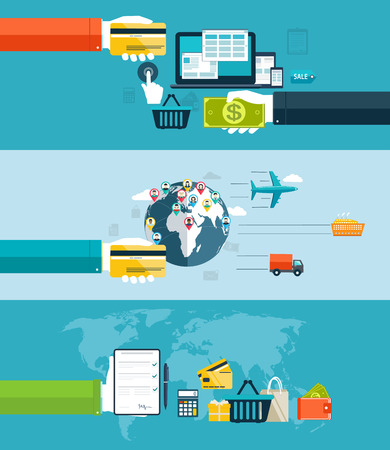 bankcard: Icons for web and mobile design,  seo, delivery of goods motor transport, by air transport, water transport  Electronic payment methods in Internet and shopping  Flat design Illustration