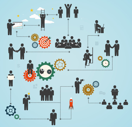 workforce, team working, business people in motion, motivation for success  Business gears with people and icons