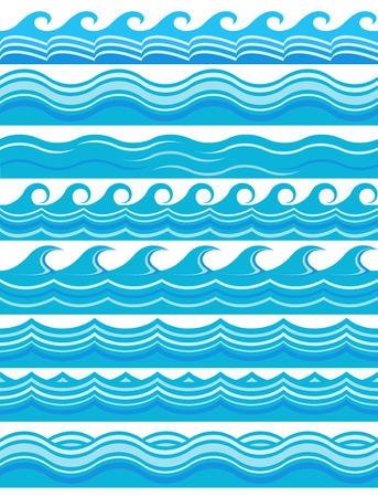 블루 웨이브 패턴 일러스트