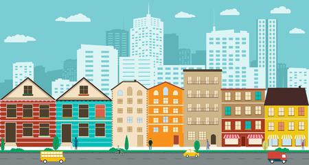 Las calles del pueblo con vistas a los rascacielos en un diseño plano Ilustración de vector