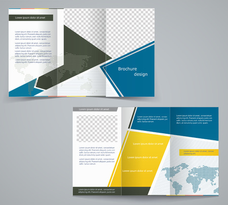 magazine stack: Three fold business brochure template, corporate flyer or cover design in blue and yellow colors