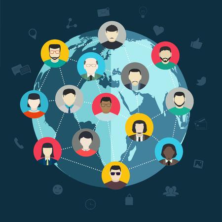 소셜 네트워킹의 개념, 무선 세계, 평면 디자인 웹 및 모바일 애플리케이션 주위 사람들을 연결 일러스트