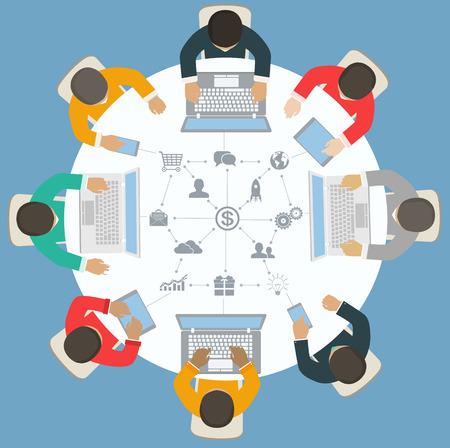 Teamwork for roundtable  Business strategy of success Vector