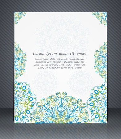 catalogs: Flyer, brochure or cover layout design template with floral pattern