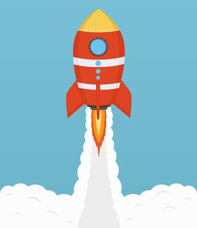 satellite launch: Startup Cosmic rocket, design in flat design