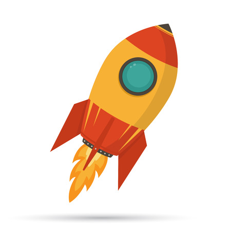 Cosmic rocket in flat design on white background  Stock Illustratie