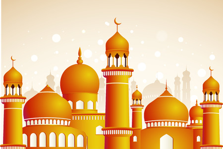 Arabic mosque on shiny light background  Ramadan Kareem Vector