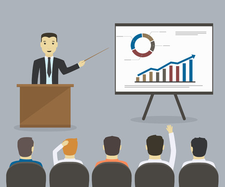 ビジネスマンはプレゼンテーションまたはセミナー ビジネス会議、トレーニングを与える
