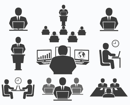 Business people  Office icons, conference, computer work Vector