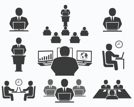colaboracion: Iconos La gente de negocios de oficina, conferencia, trabajo en computadora Vectores
