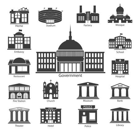 edificio: Conjunto de iconos del edificio, los edificios del Gobierno