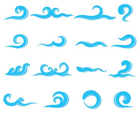 oceanic: Set of blue sea waves, water splashing