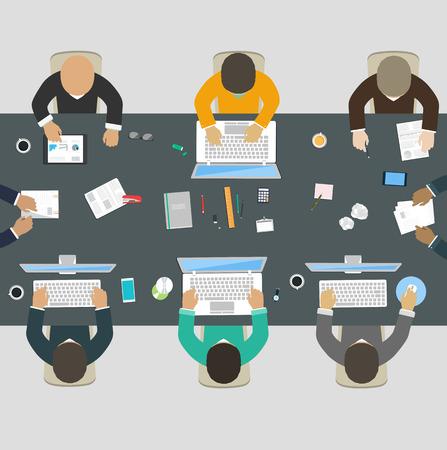 회사의 사무실 책상 새로운 아이디어, 재무 전략, 신규 사업의 개발을위한 협력 사업 사람들의 그룹 일러스트