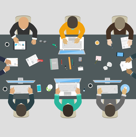 Group of business people working for office desk  New  idea of company, financial strategy, development of new projects Illustration