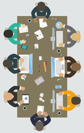 사무실 책상 비즈니스 전략, 회사의 새로운 아이디어, 재무 전략, 신규 사업 개발을위한 팀웍