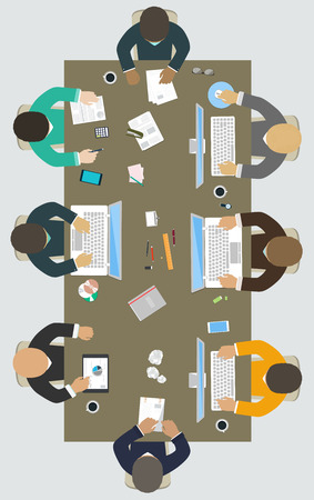 conference room table: Teamwork for office desk  Business strategy, new  idea of company, financial strategy, development of new projects Illustration