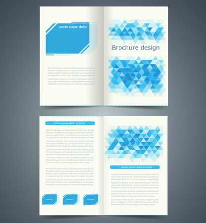 magazine stack: Geometric Blue bifold brochure template design, business leaflet, booklet