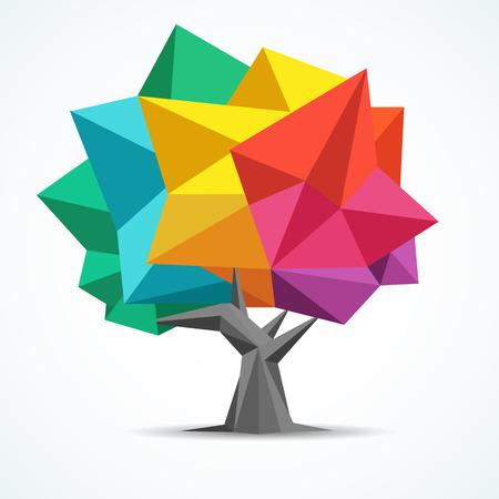 다채로운 트리 형상 폴리곤 디자인
