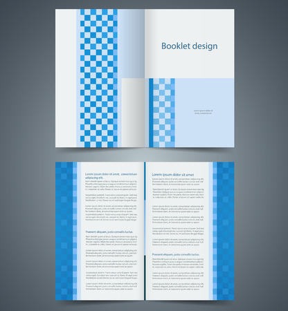 Geometric Blue bifold brochure template design, business leaflet, booklet Vector