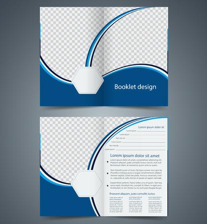 Blue bifold brochure template design, business leaflet, booklet Illustration