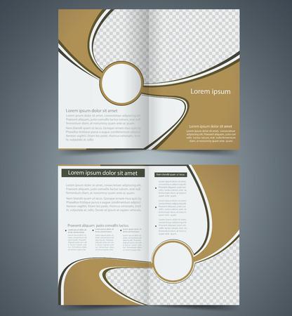 Brown bifold brochure template design, business leaflet, booklet