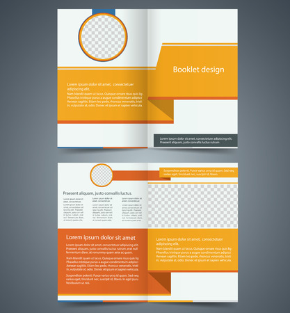 Yellow bifold brochure template design, business leaflet, booklet