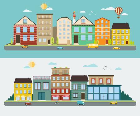 Stad straten in een plat ontwerp, set van stedelijke straatbeelden Stock Illustratie