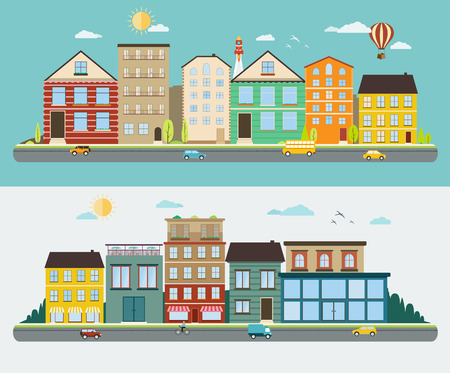 Town streets in a flat design, set of urban streetscapes Illustration