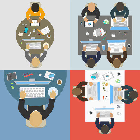 workstation: Groups of business people working for office desk  New  idea of company, financial strategy, development of new projects   Illustration