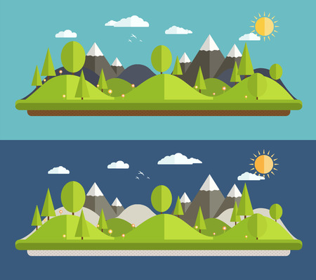 natural landscapes: Natural landscapes in a flat style on blue background Illustration