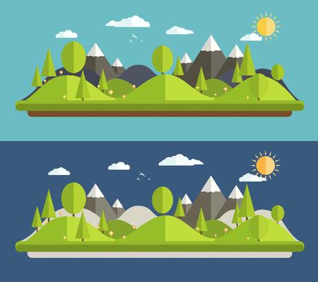 industrial landscape: Paesaggi naturali in uno stile piatto su sfondo blu