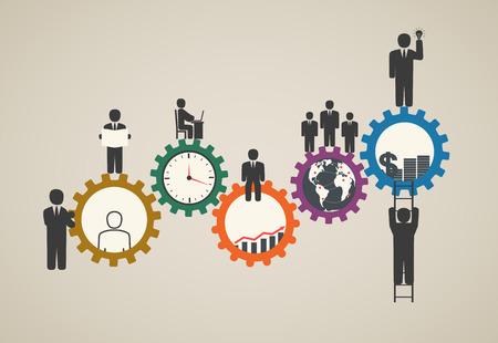 Della forza lavoro, lavoro di squadra, gli uomini d'affari in movimento, la motivazione per il successo, la motivazione di uomini d'affari con le icone