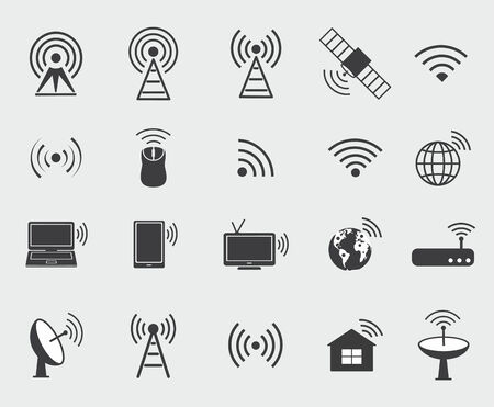 Black wireless icons  Set  icons for wifi control access and radio communication