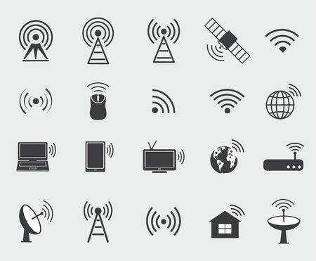 Icônes noires icônes Ensemble sans fil pour contrôler l'accès wifi et de la communication de la radio Vecteurs