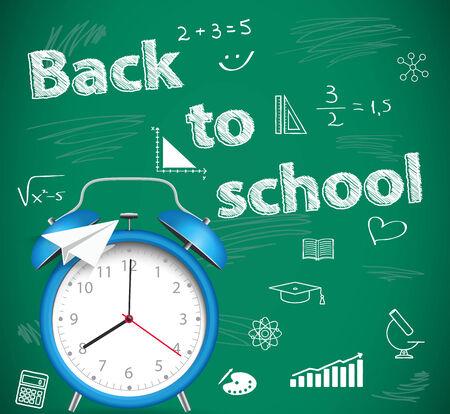 Back to school, green school background with alarm clock Vector