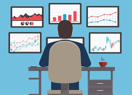 ワークステーション、ウェブの分析情報と開発の web サイトの統計  イラスト・ベクター素材