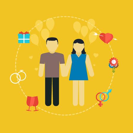 planificacion familiar: Pareja joven, concepto de la boda con los iconos, la planificaci�n familiar, dise�o plano