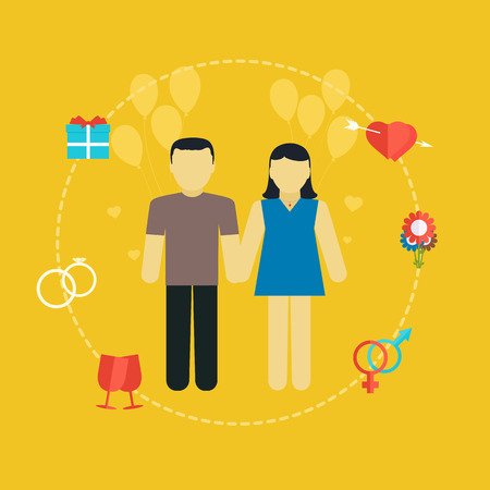 father of the bride: Young couple, wedding concept with icons, family planning, flat design