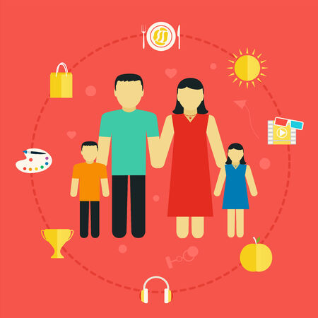 social life: Concept family with icons lifestyle Young couple with children, flat design