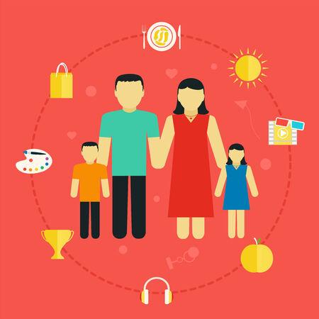 vida social: El concepto de familia con los iconos de estilo de vida Pareja joven con hijos, diseño plano