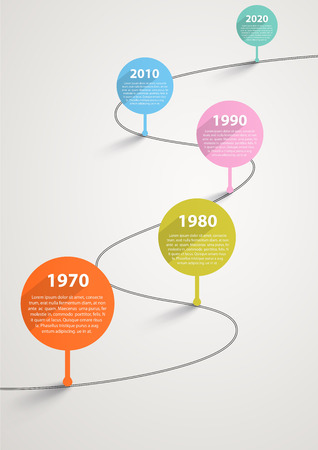 interval: Temporary timeline with pointers by years Illustration