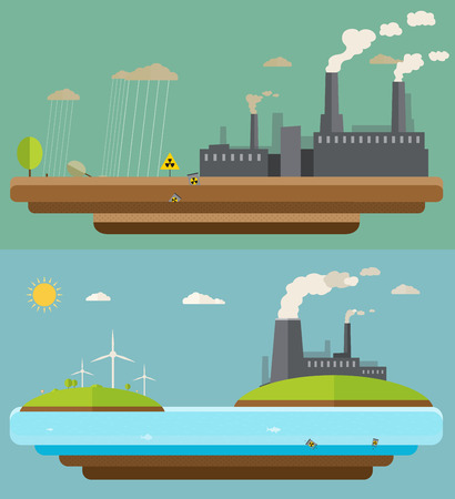 Ecology concept  Green energy and environment pollution designs, nuclear power plant, flat design Vector