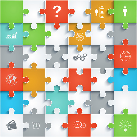 pieces: Parts of paper puzzles with icons  Business concept, template interface, layout,infographics  Illustration
