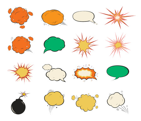 Vintage comic speech bubbles  design in soft halftones,  blast or bomb  fire Vector