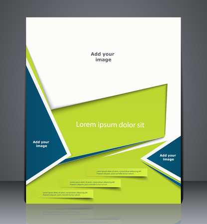 Vector layout business brochure, magazine cover, or corporate design template advertisment in light green color with blue Vectores