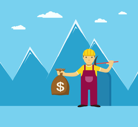 gold mine: Man with a bag of gold on its way out mine, concept on blue background with mountains Illustration