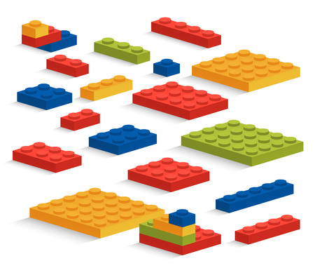 edutainment: Set of plastic toy pieces or constructor Illustration